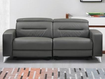 Relaxsofa 3-Sitzer Incliner Leder PAULY - Anthrazit
