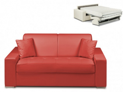 Schlafsofa 2-Sitzer EMIR - Rot - Liegefläche: 120cm - Matratzenhöhe: 22cm