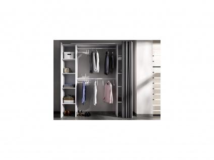 Kleiderschrank Kleiderschranksystem DORIAN - B. 110/180 cm - Weiß & Grau