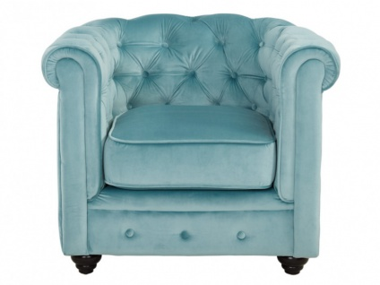 Chesterfield Sessel Samt ANNA - Blau 5