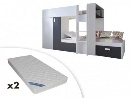 Set Etagenbett mit Kleiderschrank JULIEN + 2 Matratzen - 2x90x190cm - Weiß/Schwarz
