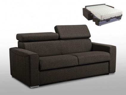 Schlafsofa 3-Sitzer Stoff VIZIR - Braun - Liegefläche: 140 cm - Matratzenhöhe: 18cm