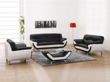 Couchgarnitur 3+2+1 Indiz & Couchtisch - Schwarz & Weiß