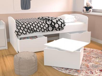 Bett LOUANE - 2 Schubladen & 1 Bettkasten - 90 x 190 cm - Weiß - Vorschau 2