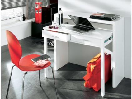 Wandkonsole Schreibtisch Holz Sisko - Ausziehbar - Weiß
