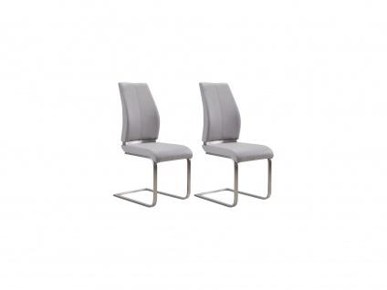 Stuhl 2er-Set SALMA - Kunstleder - Grau