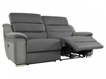 Relaxsofa 3-Sitzer Leder Microfaser Incliner Arena II - Grau/Anthrazit