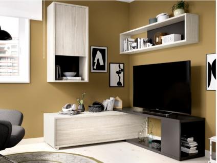 TV-Wand TV-Möbel mit Stauraum GAMBIE - Modulierbar - Anthrazit/Eichenholzfarben - Vorschau 2