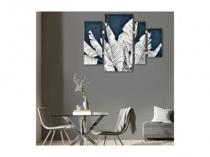 Ölgemälde handgemalt Ethno-Stil BOYA - 80 x 110 cm - Blau & Weiß