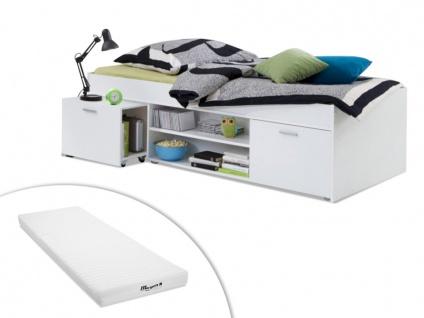 Set Bett mit Stauraum ALORA + Matratze - 90x200cm