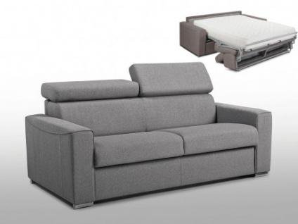Schlafsofa 2-Sitzer Stoff VIZIR - Grau - Liegefläche: 120cm - Matratzenhöhe: 22cm