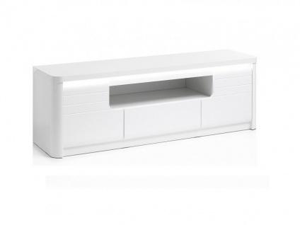 TV-Möbel mit LED-Beleuchtung PERCEPTION - 2 Türen & 1 Schublade - Weiß