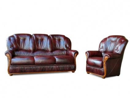 Couchgarnitur Leder 3+1 DAPHNE - Büffelleder - Weinrot