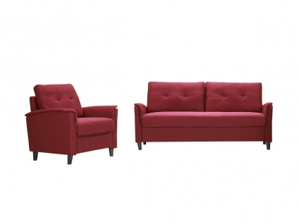 Couchgarnitur 3+1 mit Stauraum NEYLI - Stoff - Rot