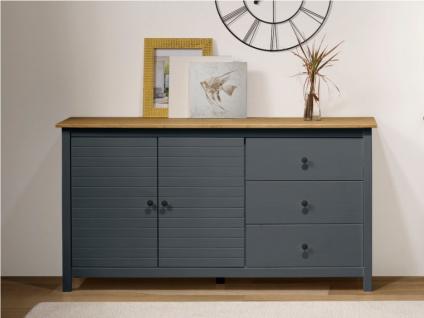 Sideboard NEWPORT - 2 Türen & 3 Schubladen - Blaugrau & Eiche