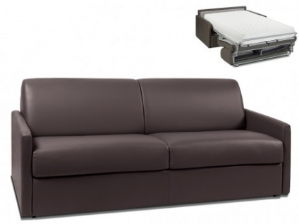 Schlafsofa 4-Sitzer CALIFE - Braun - Liegefläche: 160 cm - Matratzenhöhe: 22cm