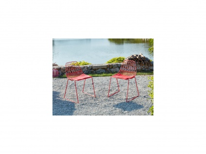 Gartenstuhl 2er-Set LONDRINA - Stapelbar - Metall - Rot