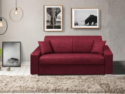 Schlafsofa 3-Sitzer Stoff EMIR - Bordeauxrot - Liegefläche: 140cm - Matratzenhöhe: 14cm