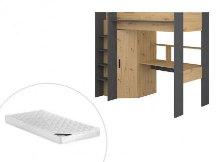 Hochbett AUCKLAND mit Schreibtisch & Kleiderschrank - 90 x 200 cm - Eiche & Anthrazit + Matratze