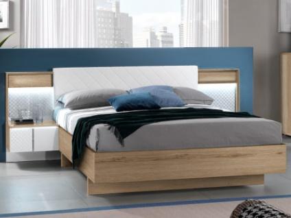 Polsterbett mit 2 LED-Nachttischen & Schublade CONSCIENCE - 160x200cm - Weiß/Eichenholzfarben