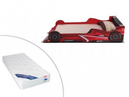 Set LED-Kinderbett FORMEL 1 + Lattenrost + Matratze - 90x190cm