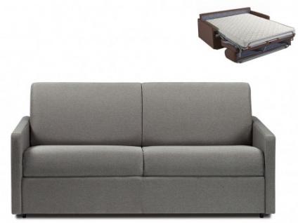 Schlafsofa 3-Sitzer Stoff CALIFE - Hellgrau - Liegefläche: 140 cm - Matratzenhöhe: 14cm