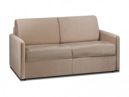 Schlafsofa 2-Sitzer Samt CALIFE - Beige - Liegefläche: 120 cm - Matratzenhöhe: 18cm