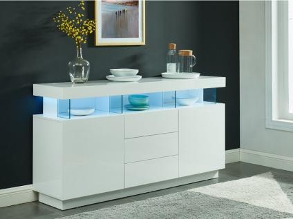 Sideboard Hochglanz LED Fabio - Weiß
