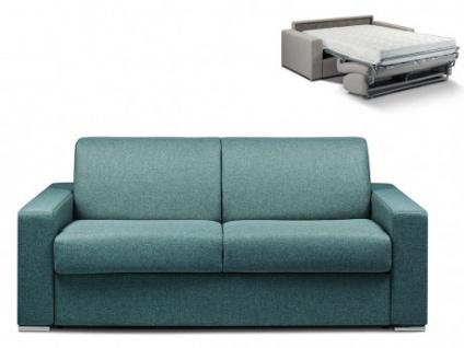 Schlafsofa 3-Sitzer Stoff CALITO - Blau - Liegefläche: 140 cm - Matratzenhöhe: 18cm