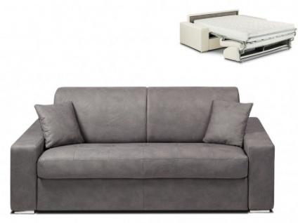 Schlafsofa 3-Sitzer Stoff EMIR - Grau - Liegefläche: 140cm - Matratzenhöhe: 18cm