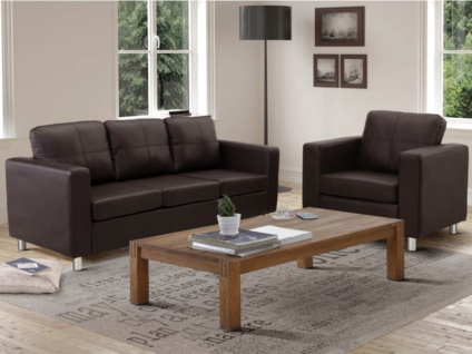 Couchgarnitur 3+1 Ackley - Braun
