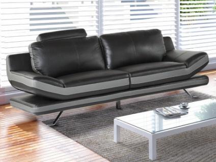 3-Sitzer Sofa Leder LATIKA - Schwarz/Anthrazit