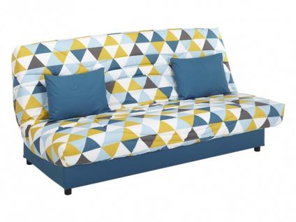 Schlafsofa Klappsofa mit Bettkasten Saloon - Motiv Triangle Blau - Vorschau 2