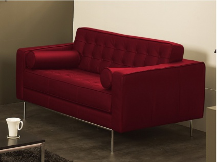 Ledersofa 2-Sitzer Vittoria - Luxusleder - Rot