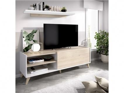 TV-Wand KOLYMA - 1 Tür & 2 Ablagen - Eiche & Weiß