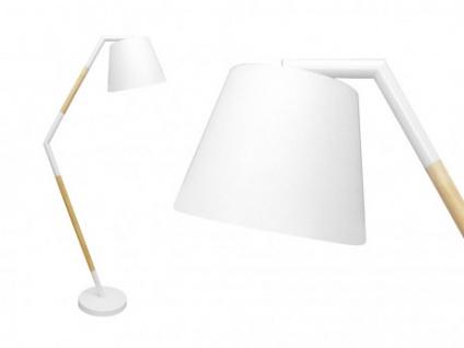 Stehleuchte Metall & Holz EXQUIS - Marmorsockel - B 80 x H 190 cm - Weiß