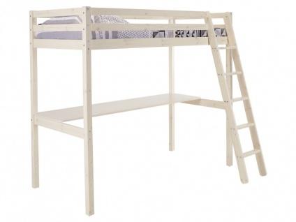 Hochbett Massivholz mit Schreibtisch GEDEON + Lattenrost - 90x190cm