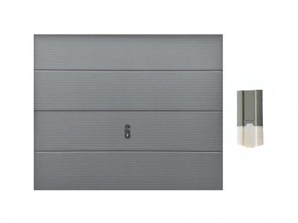 Set Sektionalgaragentor CADILLO grau + Torantrieb ECO LINE