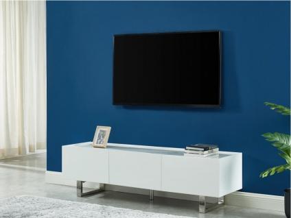TV-Möbel AZIMA - 2 Türen & 2 Schubladen - Holz, Keramik & Metall - Weiß