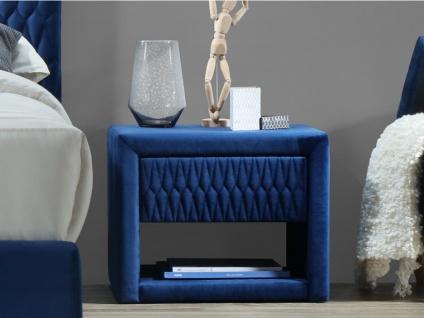 Nachttisch Samt DANIELE - 1 Schublade & 1 Ablage - Blau
