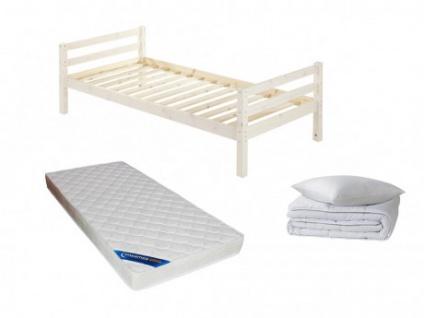 Sparset Kinderzimmer: Kinderbett FINN + Lattenrost + Matratze ZEUS + Bettdecke + Kopfkissen