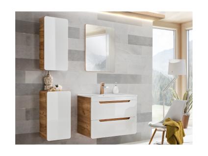 Komplettbad mit Einzelwaschbecken ARUBA - Weiß - Breite: 80 cm