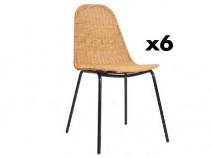 Stuhl 6er-Set Rattan & Metall KOSI