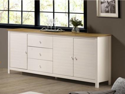 Sideboard NEWPORT - 3 Türen & 3 Schubladen - Weiß & Eiche