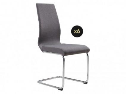 Stuhl 6er-Set Stoff LEONIE - Grau
