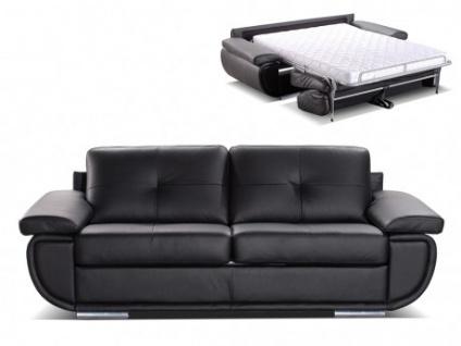 Schlafsofa mit Matratze 3-Sitzer Leder ORGULLOSA II - Standardleder - Schwarz