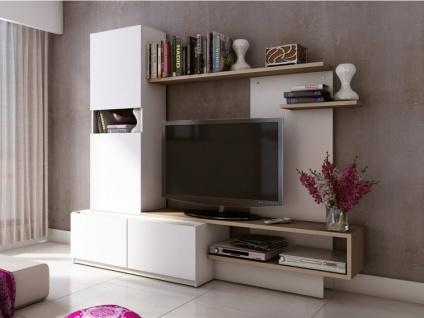 TV-Möbel TV-Wand RODRIGO - Weiß&Eiche