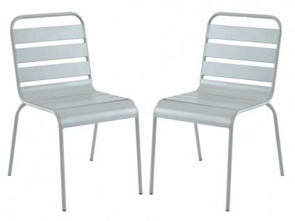 Garten Essgruppe Metall MIRMANDE - Tisch D. 60 cm & 2 Stühle - Grau - Vorschau 3