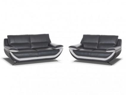 Couchgarnitur Leder 3+2 Adagio - Luxusleder - Anthrazit