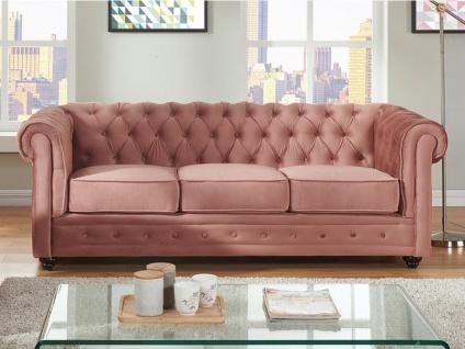 3-Sitzer-Sofa Chesterfield Samt ANNA - Rosa - Vorschau 3